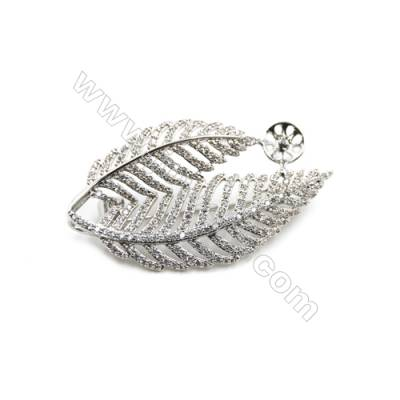 Brass Micro Pave Cubic Zirconia Brooch  White Gold  Leaf  29x49mm  Tray 8mm  Pin 0.9mm  x1pc can inlay half-drilled beads
