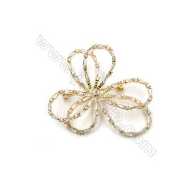 Brass Micro Pave Cubic Zirconia Brooch  Golden  Wreath  54x49mm  Tray 5mm  Pin 0.8mm  x1pc can inlay half-drilled beads