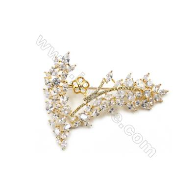 Brass Micro Pave Cubic Zirconia Brooch  Golden  Branches  62x59mm  Tray 8mm  Pin 0.9mm  x1pc can inlay half-drilled beads