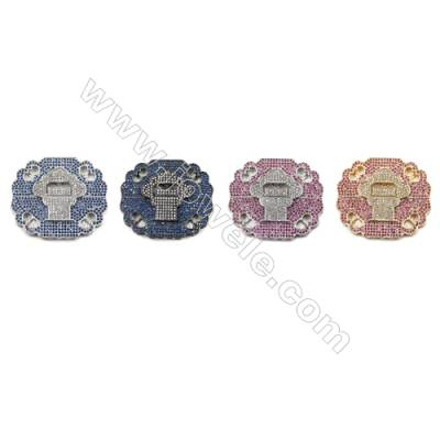 Brass Micro Pave Cubic Zirconia Charms  (Gold  White Gold  Gun Black) Plated  Hole 2mm  Size 41x48mm  x1pc