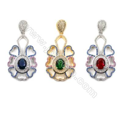 Brass Inlaid Cubic Zirconia Pendants  (Gold  White Gold) Plated  Hollow Flower  Size 27x43mm  x1pc
