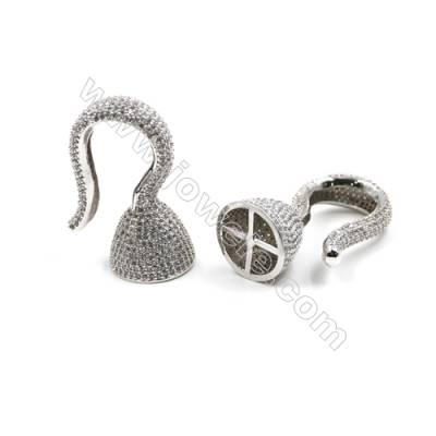 Brass Micro Pave Cubic Zirconia Charms  Hook  White Gold  Size 29x43mm  x1pc