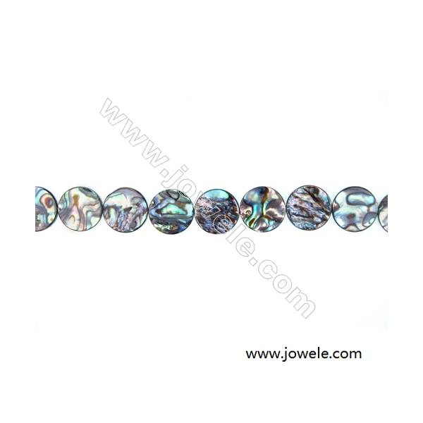 Abalone Shell Bead Strands, Flat Round, Diameter 14 mm, Hole 0.8 mm, About 28 beads/strand, 15 ~ 16 ""