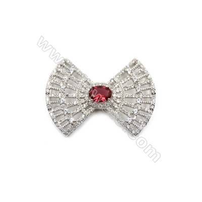 Brass Micro Pave Cubic Zirconia Charms  Bowknot  White Gold  Hole 5mm  Size 29x39mm  x10pcs/pack
