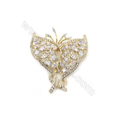 Brass Micro Pave Cubic Zirconia Brooch  Golden  Butterfly  Size 51x44mm  x1pc