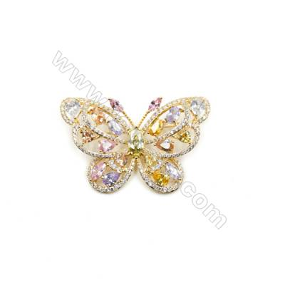 Brass Micro Pave Cubic Zirconia Brooch  Golden  Butterfly  Size 30x48mm  x1pc