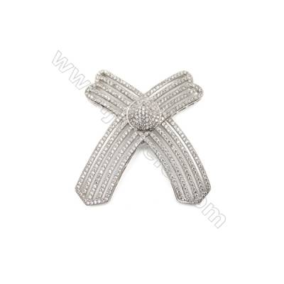 Brass Micro Pave Cubic Zirconia Charms  X-shaped  White Gold  Hole 2mm  Size 51x54mm  x1pcs/pack