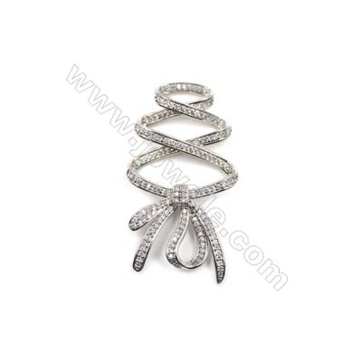 Brass Micro Pave Cubic Zirconia Charms  Ribbon  White Gold  Hole 1mm  Size 30x56mm  x1pcs/pack