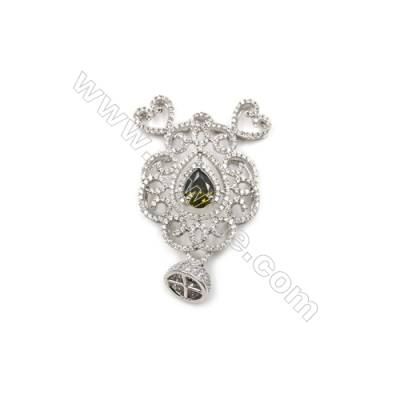 Brass Micro Pave Cubic Zirconia Pendants  White Gold  Hollow Flower  Size 33x43mm  x1pc