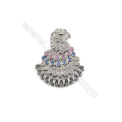 Brass Micro Pave Cubic Zirconia Charms  Peacock  White Gold  Hole 3mm  Size 37x44mm  x1pcs/pack