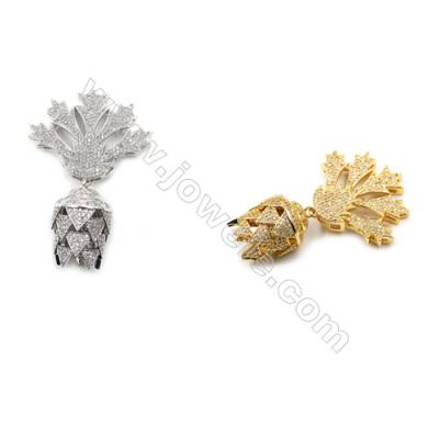 Brass Micro Pave Cubic Zirconia Pendants  (Gold  White Gold) Plated  Size 34x42mm  x1pc
