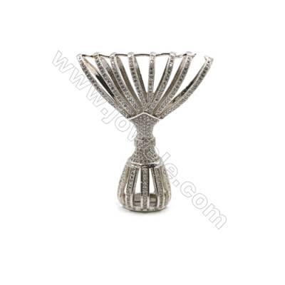 Brass Micro Pave Cubic Zirconia Charms  Banquet dress Charms  White Gold  Hole 9mm  Size 42x50mm  x1pc