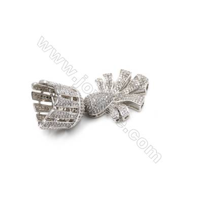 Brass Micro Pave Cubic Zirconia Charms  White Gold  Hole 3mm  Size 29x35mm  x1pc