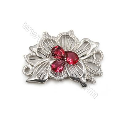 Brass Micro Pave Cubic Zirconia Charms  Flower  White Gold  Hole 3mm  Size 50x35mm  x1pc