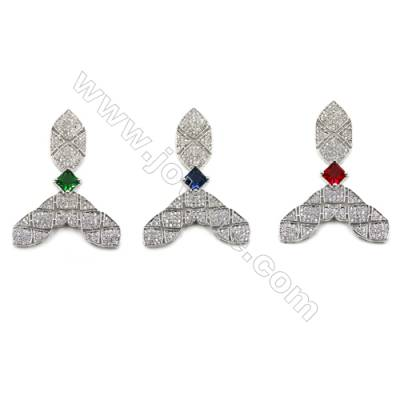 Brass Micro Pave Cubic Zirconia Charms  White Gold  Hole 1mm  Size 46x35mm  x1pc