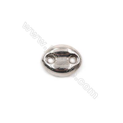 Coffe beans shape sterling silver beads spacer 11x9x3.7mm hole 1.7mm 20pcs/pack