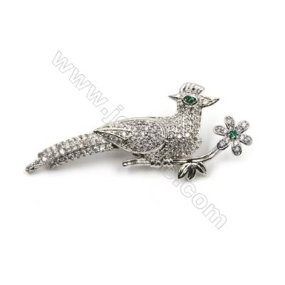Brass Micro Pave Cubic Zirconia Brooch  White Gold  Sparrow  Size 22x51mm  x1pc