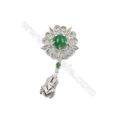 Brass Micro Pave Cubic Zirconia Pendants  White Gold  Hollow Flower  Size 41x42mm  x1pc