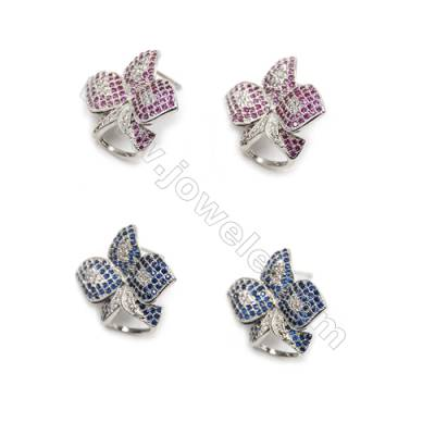 Brass Micro Pave Cubic Zirconia Earrings  White Gold  Flower  Size 21x25mm  Pin 0.9mm  8pcs/pack