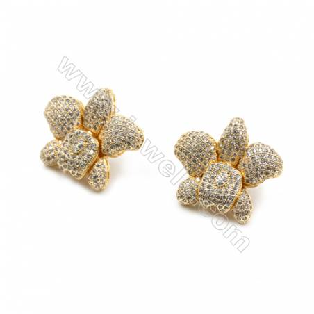 Brass Micro Pave Cubic Zirconia Earrings  Golden  Flower  Size 22x25mm  Pin 0.9mm  8pcs/pack