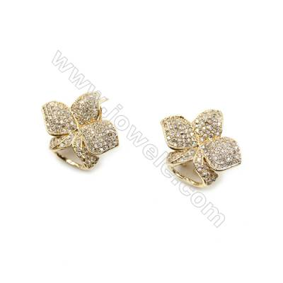 Brass Micro Pave Cubic Zirconia Earrings  Golden  Flower  Size 21x25mm  Pin 0.9mm  8pcs/pack
