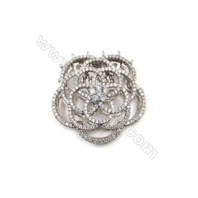Brass Cubic Zirconia Clasps  White Gold  Flower  Size 37x39mm  x1pc