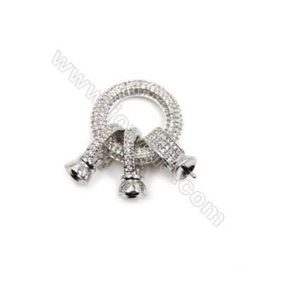Brass Pave Zircon Clasps Accessories  White Gold  Tray 6mm  Pin 1mm  Size 34x23mm  x1pc  can inlay Half-drilled bead