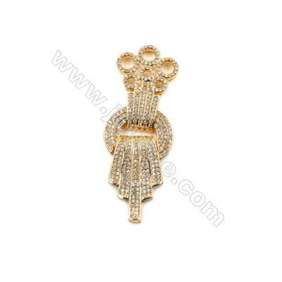 Brass Plated Golden Clasps Paved Cubic Zirconia  Size 61x23mm  x1pc