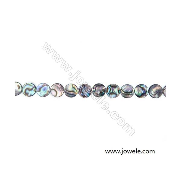 Abalone/Paua Shell Smooth Beads Strands, Flat Round, Diameter 10 mm, Hole  0.8 mm, About 40 beads/strand, 15 ~ 16 ''