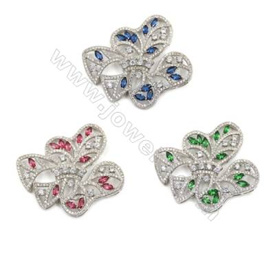 Brass Micro Pave Cubic Zirconia Charms  White Gold  Hole 2mm  Size 46x51mm  x1pc