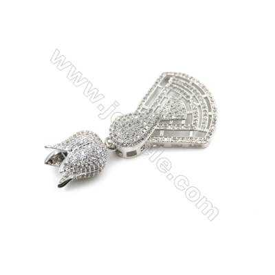 Brass Micro Pave Cubic Zirconia Pendants  White Gold  Size 26x34mm  x1pc