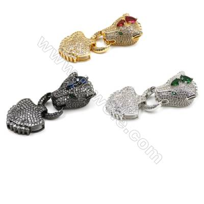 Brass Cubic Zirconia Clasps  (Golden  White Gold  Gun Black)Plated  Tiger head  Size 63x24mm  x1pc
