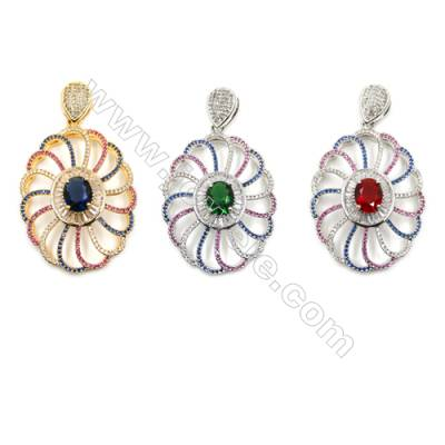 Brass Micro Pave Cubic Zirconia Pendants  (Gold  White Gold) Plated  Flower  Size 56x33mm  x1pc
