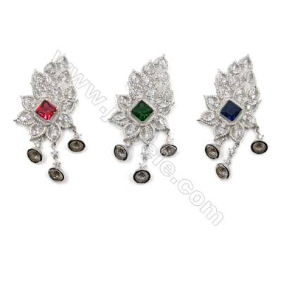 Brass Pave Cubic Zirconia Pendants  White Gold  Leaf  Tray 7mm  Pin 1.2mm  Size 82x40mm  x1pc  can inlay half-drilled beads