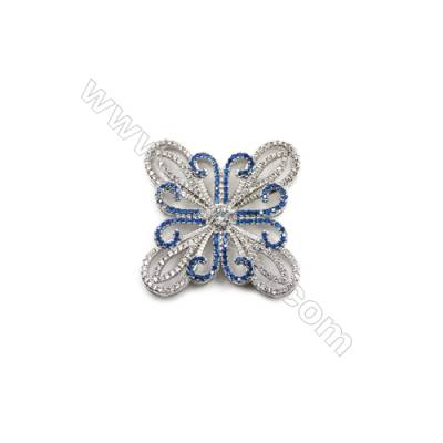 Brass Micro Pave Cubic Zirconia Butterfly Charms  White Gold  Hole 2mm  Size 30x31mm  x1pc