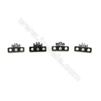 Brass Micro Pave Cubic Zirconia Charms  Flower  (White Gold  Gun Black) Plated  Hole 1.5mm  Size 7x14mm  x40pcs/pack