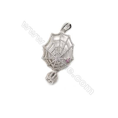 Brass Micro Pave Cubic Zirconia Pendants  White Gold  Spider Webs  Size 37x46mm  x1pc