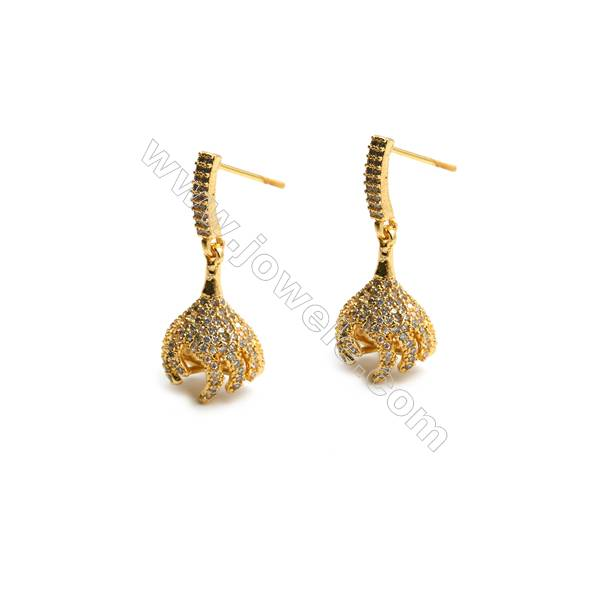 Brass Micro Pave Cubic Zirconia Lampshade Dangle Earrings with Brass Pins Golden Lengh 30mm Pin 0.8 Lampshade 16x11mm 6pcs/pack