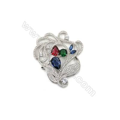 Brass Micro Pave Cubic Zirconia Charms  Rose  White Gold  Hole 2mm  Size 45x51mm  x1pc