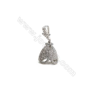 Brass Micro Pave Cubic Zirconia Pendants  White Gold  Lampshade  Size 16x18mm  x1pc
