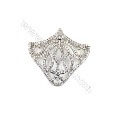 Brass Micro Pave Cubic Zirconia Charms  Umbrella  White Gold  Hole 0.8mm  Size 16x18mm  x10pcs/pack