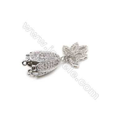 Brass Micro Pave Cubic Zirconia Pendants  White Gold  Lampshade  Hole 1mm  Size 15x36mm  x1pc