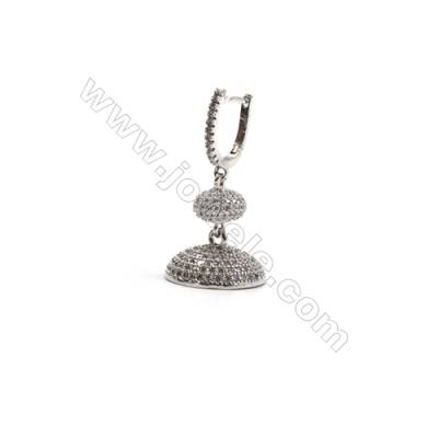 Brass Micro Pave Cubic Zirconia Hat Dangle Earrings, with Brass Earring Clasps,  White Gold, Pin 0.7, Hat 17mm, 8pcs/pack