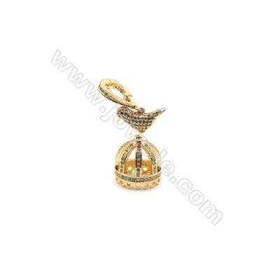 Brass Micro Pave Cubic Zirconia Pendants  Golden  Crown  Size 42x16mm  x1pc