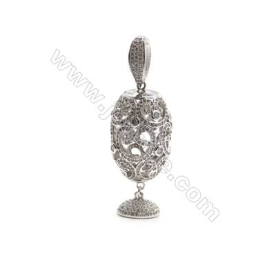 Brass Micro Pave Cubic Zirconia Pendants  White Gold  Hollow Bead  Size 26x37mm  x1pc