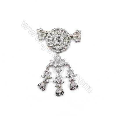 Brass Pave Cubic Zirconia Pendants  White Gold  Campanula  Tray 5mm  Pin 0.9mm  Size 65x44mm  x1pc  can inlay half-drilled beads