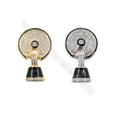 Brass Micro Pave Cubic Zirconia Pendants  (Gold  White Gold) Plated  Size 49x29mm  x1pc