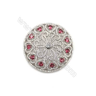 Brass Micro Pave Cubic Zirconia Charms  Round  White Gold  Diameter 39mm  x1pc