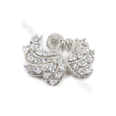 Brass Micro Pave Cubic Zirconia Charms  Swan  White Gold  Size 40x53mm  x1pc