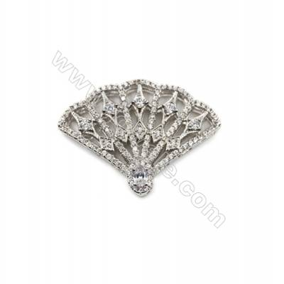 Brass Micro Pave Cubic Zirconia Charms  Folding fan  White Gold  Hole 2mm  Size 25x34mm  x1pc